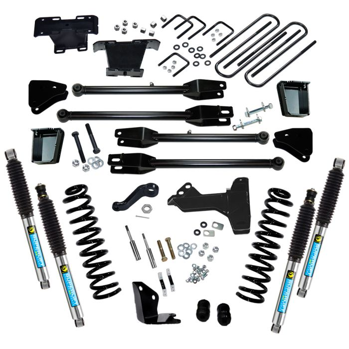 SUPERLIFT6 inch Lift Kit - 2005-2007 Ford F-250 and F-350 Super Duty 4WD - Diesel Engine - with a 4-Link Conversion and Bilstein Shocks