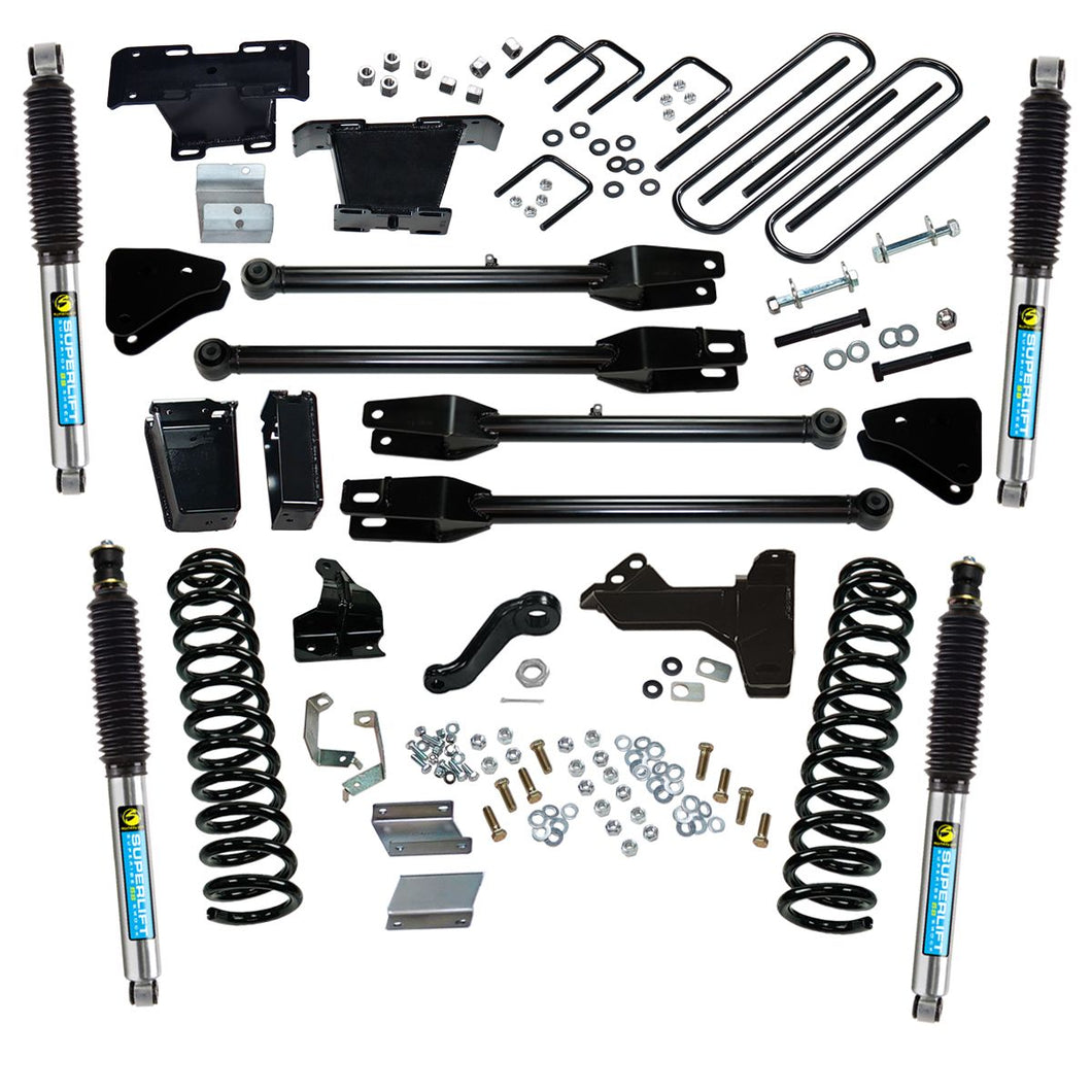 SUPERLIFT 6 inch Lift Kit - 2011-2016 Ford F-250 and F-350 Super Duty 4WD - Diesel Engine - with a 4-Link Conversion and Bilstein Shocks