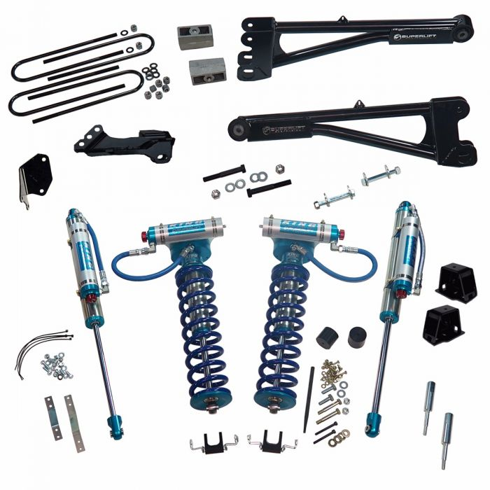 SUPERLIFT 4 inch Lift Kit - 2005-2007 Ford F-250 and F-350 Super Duty 4WD - with Replacement Radius Arms, King Coilovers and King rear Shocks