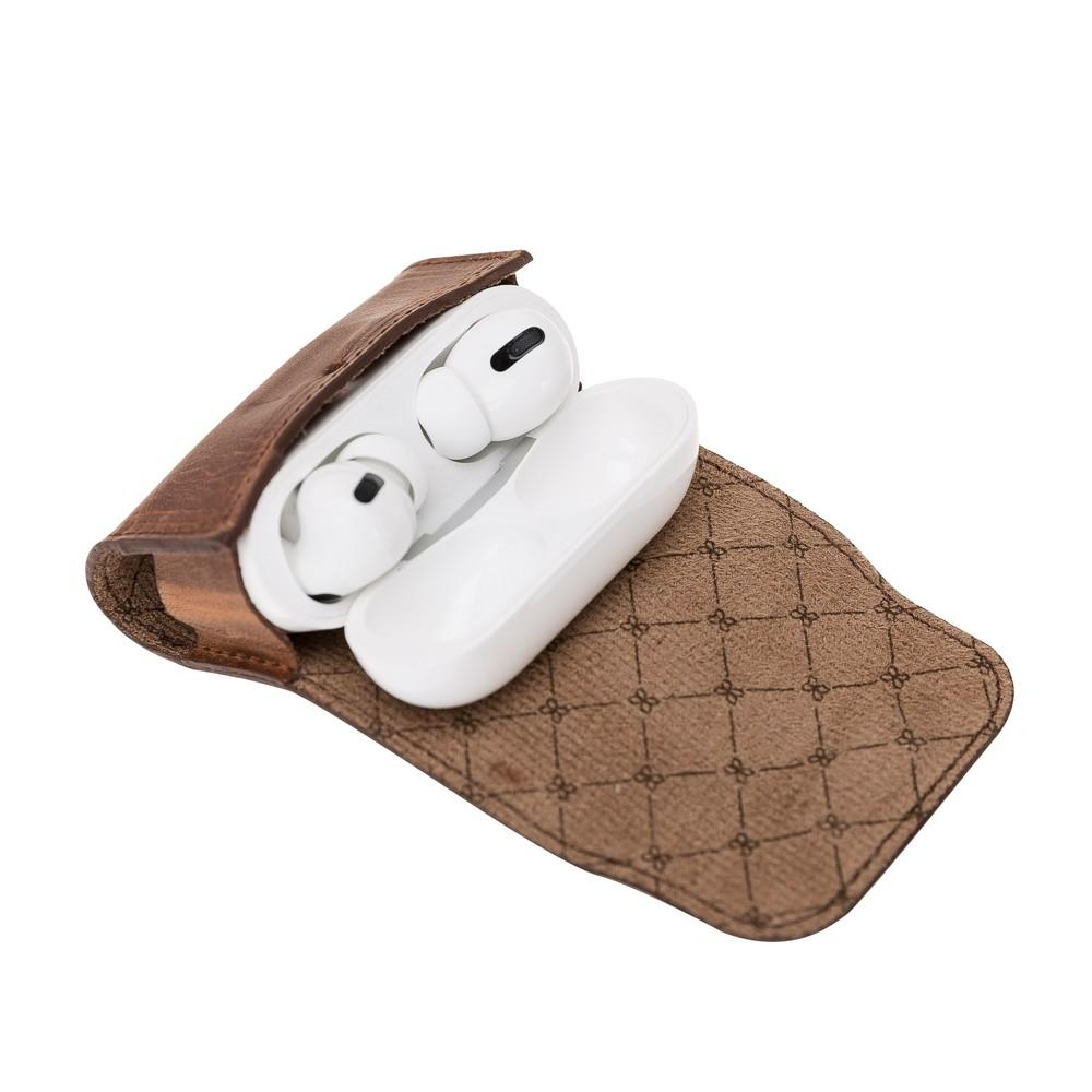 Accessories Mai Magnet AirPods Pro Leather Case with Hook - Antic Brown Bouletta Case