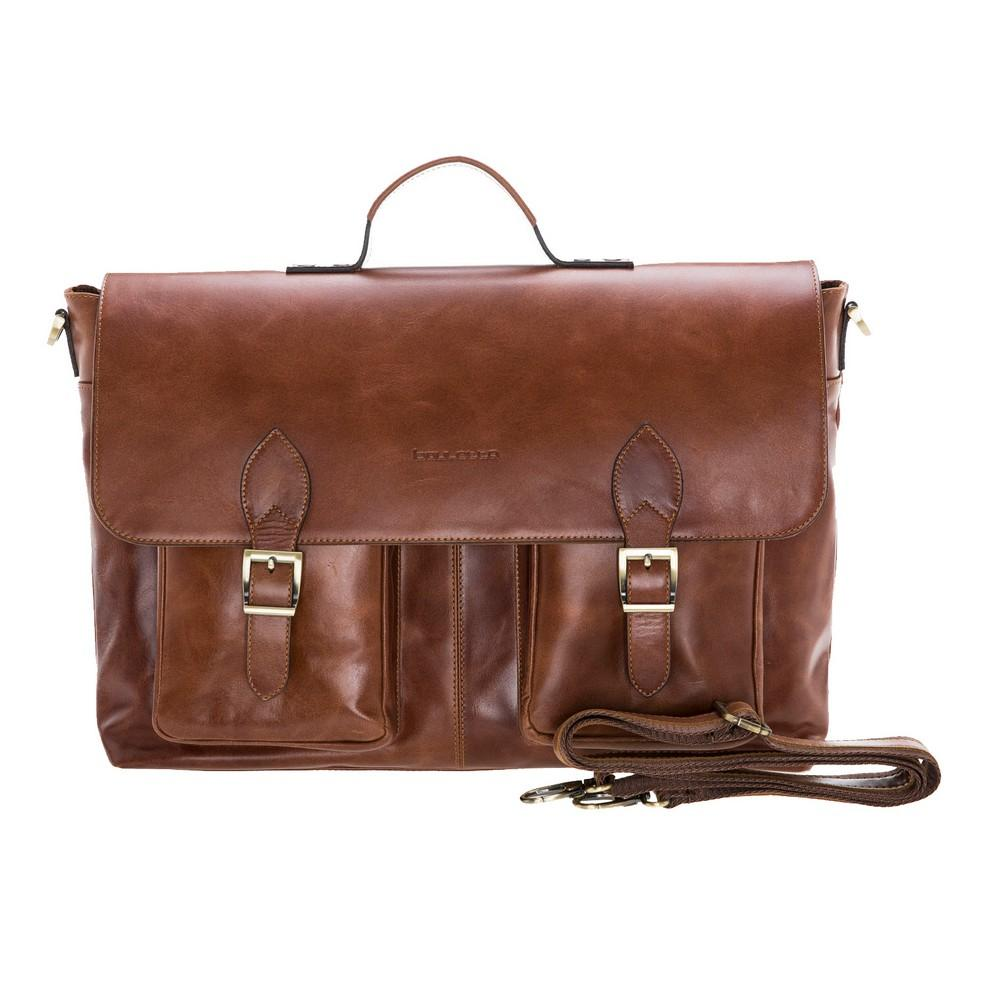 "Briefcases Olympus Briefcase Leather Bag 17"" - Rustic Tan Bouletta Case"