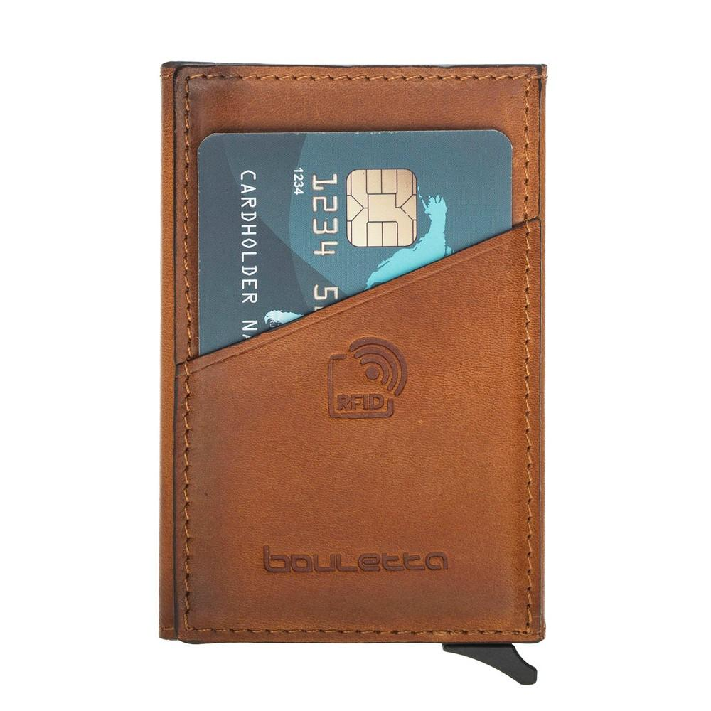 Card Holder Torres Mechanical Leather Card Holder with RFID Blocker - Rustic Tan with Effect Bouletta Case