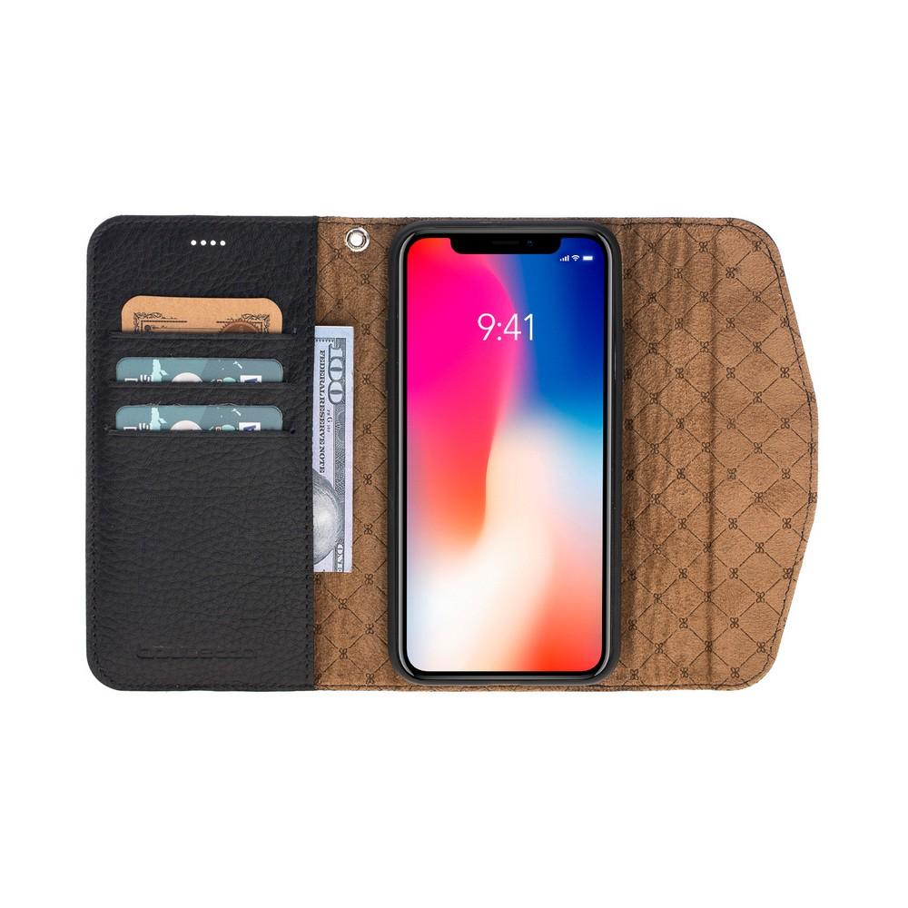 Phone Case Flap Magnetic Detachable Leather Wallet Case for Apple iPhone X/XS - Floater Black Bouletta Shop