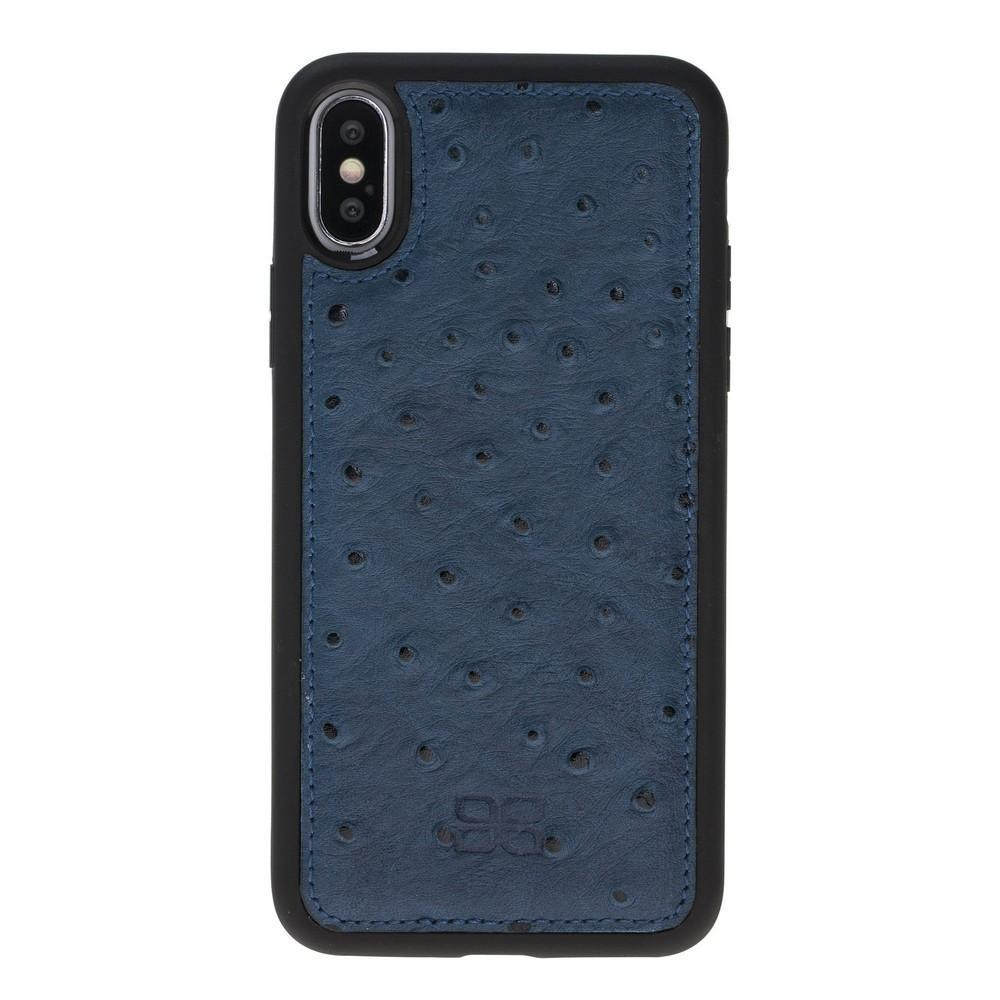 Phone Case Flex Cover Back Leather Case for Apple iPhone X/XS - Ostrich Pattern Navy Blue Bouletta Shop