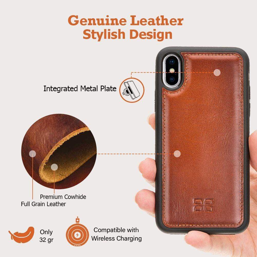 Phone Case Flex Cover Back Leather Case for Apple iPhone X/XS - Vegetal Grey Bouletta Case