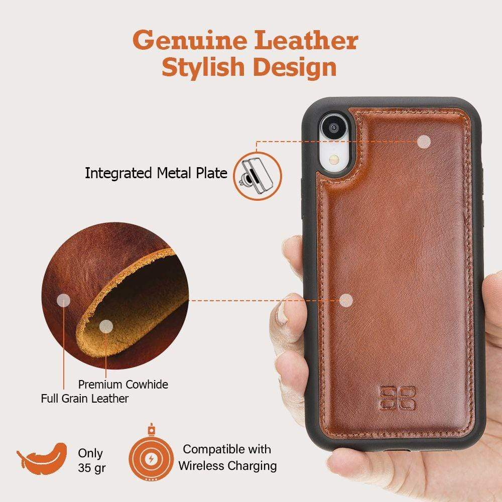 Phone Case Flex Cover Back Leather Case for Apple iPhone XR - Tiguan Tan with Vein Bouletta Case
