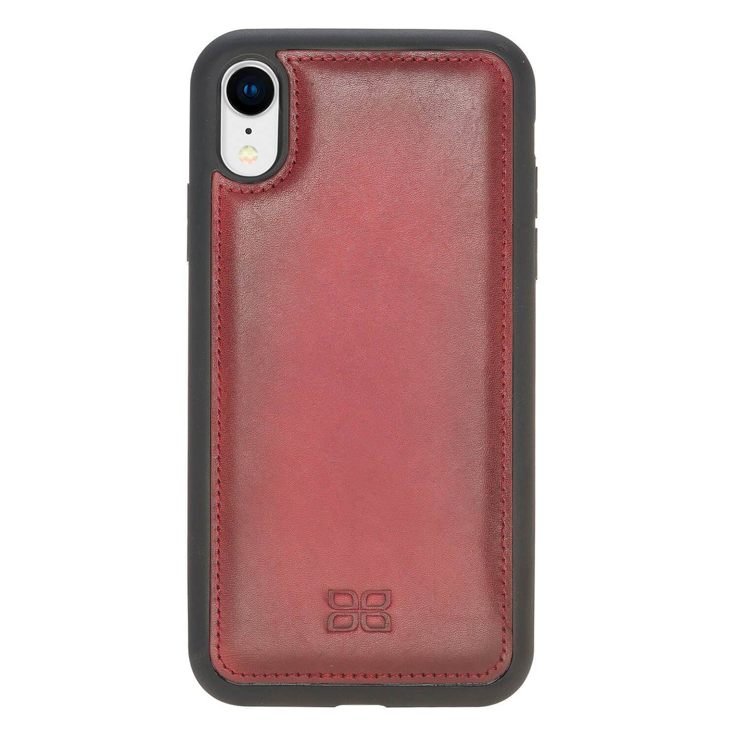 Phone Case Flex Cover Back Leather Case for Apple iPhone XR- Vegetal Burnished Red Bouletta Shop