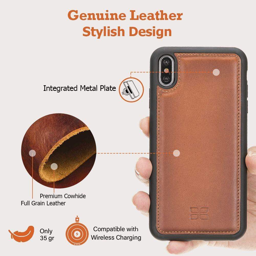 Phone Case Flex Cover Back Leather Case for Apple iPhone XS Max - Antic Brown Bouletta Case