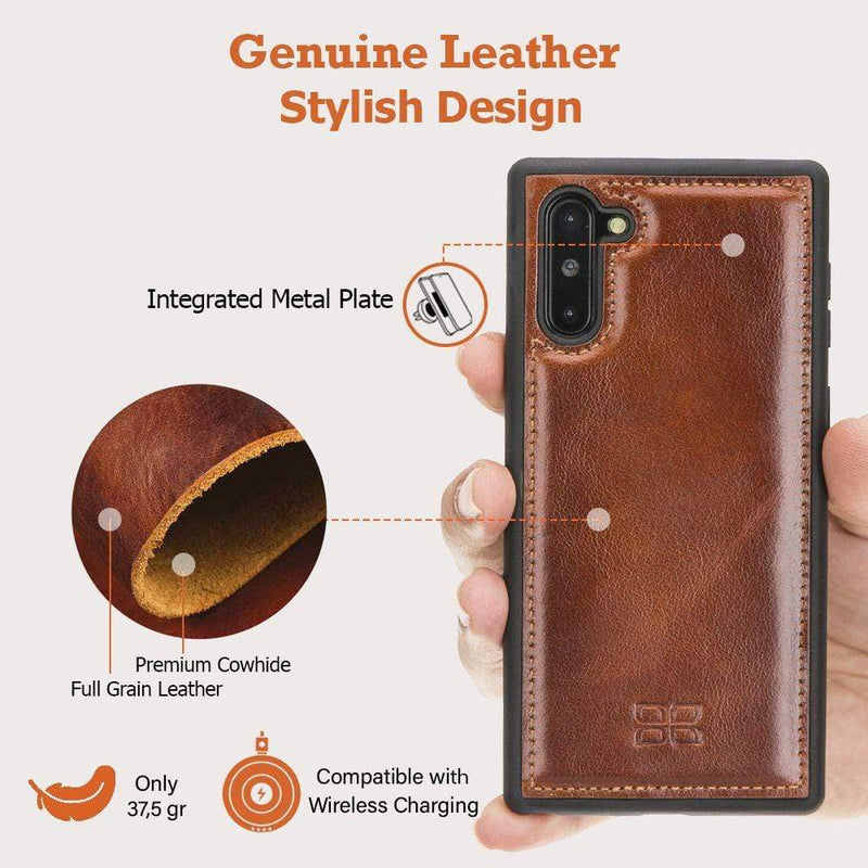 Phone Case Flex Cover Back Leather Case for Samsung Note 10 - Antic Brown Bouletta Case