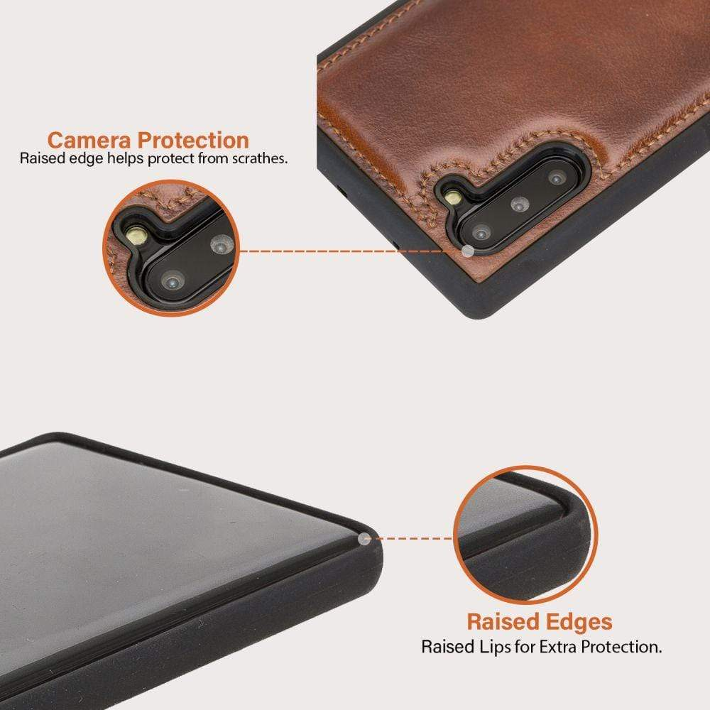 Phone Case Flex Cover Back Leather Case for Samsung Note 10 - Rustic Tan with Effect Bouletta Case