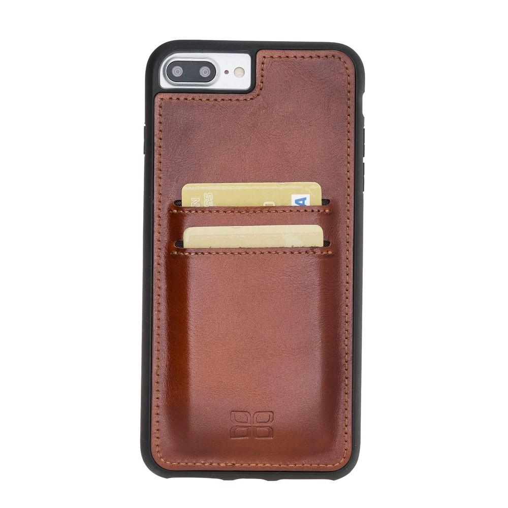 Phone Case Flex Cover Back Leather Case with Card Holder for Apple iPhone 7 Plus / 8 Plus - Rustic Tan with Effect Bouletta Shop