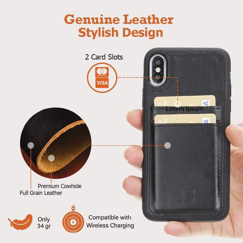 Phone Case Flex Cover Back Leather Case with Card Holder for Apple iPhone X/XS - Antic Brown Bouletta Case