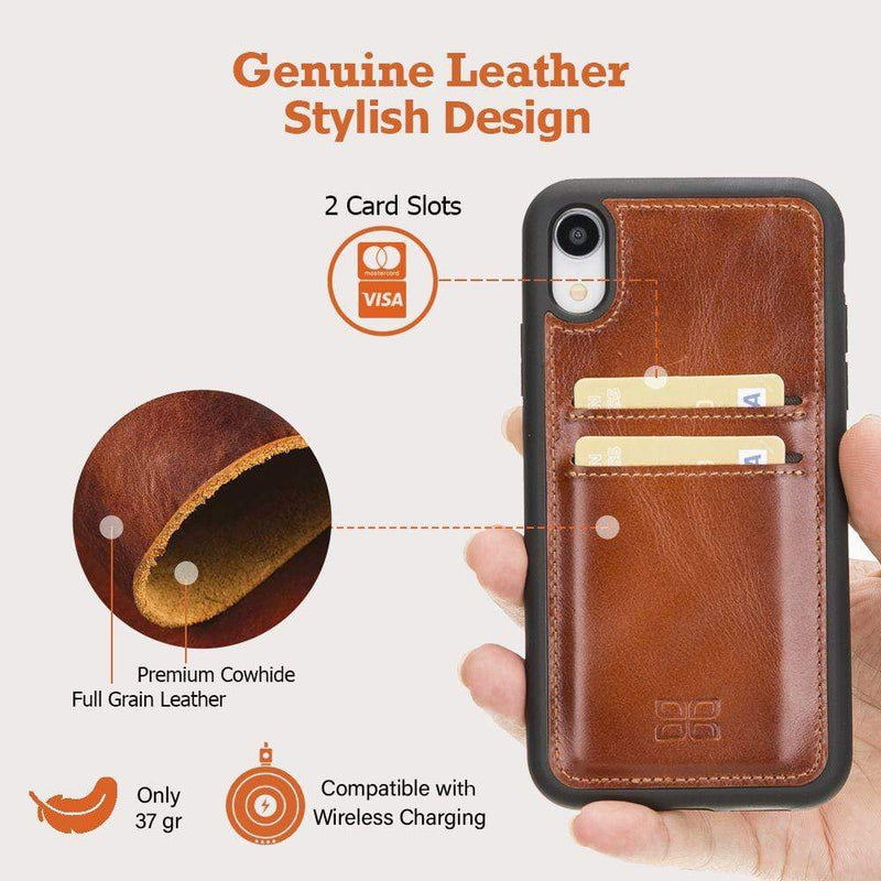 Phone Case Flex Cover Back Leather Case with Card Holder for Apple iPhone XR - Antic Brown Bouletta Case