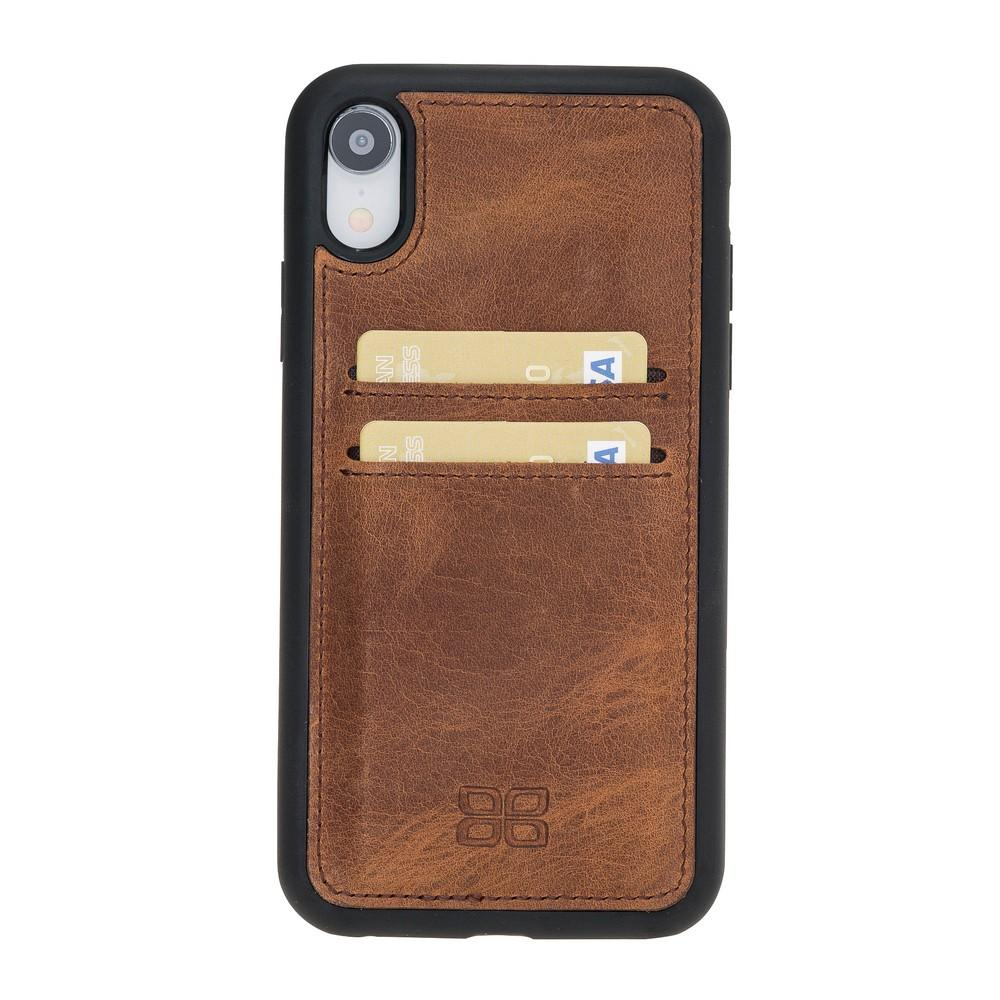 Phone Case Flex Cover Back Leather Case with Card Holder for Apple iPhone XR - Antic Brown Bouletta Shop