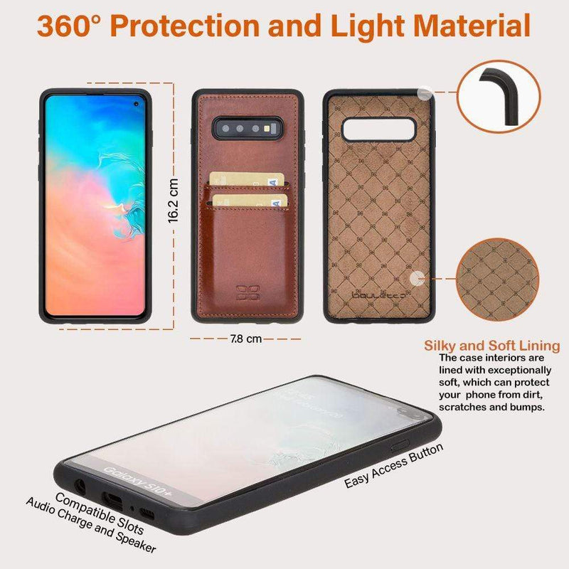 Phone Case Flex Cover Back Leather Case with Card Holder for Samsung Galaxy S10 Plus - Rustic Tan with Effect Bouletta Case