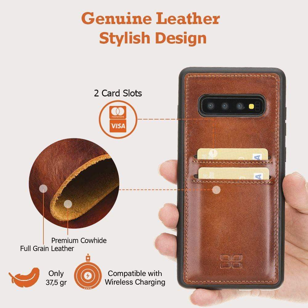 Phone Case Flex Cover Back Leather Case with Card Holder for Samsung Galaxy S10 - Rustic Tan with Effect Bouletta Case