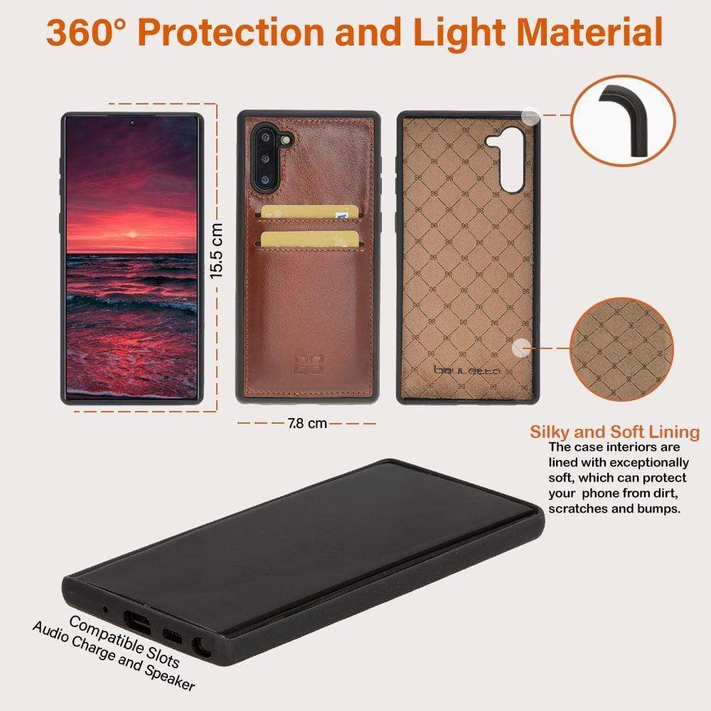 Phone Case Flex Cover Back Leather Case with Card Holder for Samsung Note 10 - Rustic Black Bouletta Case