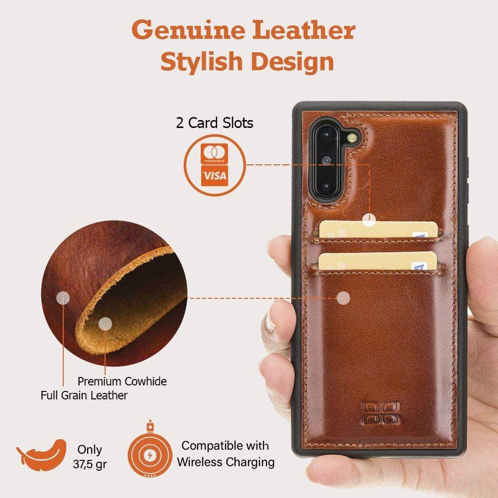 Phone Case Flex Cover Back Leather Case with Card Holder for Samsung Note 10 - Rustic Tan with Effect Bouletta Case
