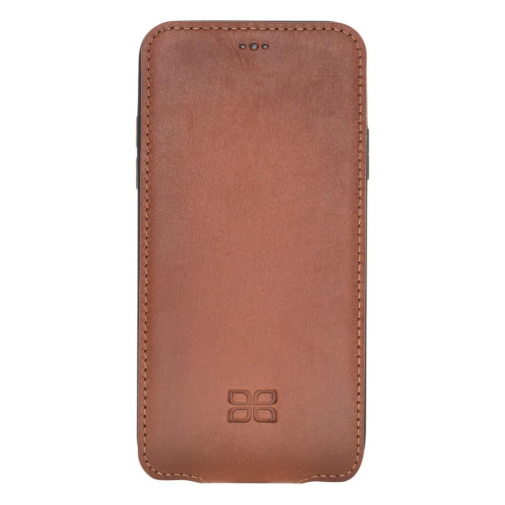 Phone Case Flip Cover Leather Case for Apple iPhone X/XS - Rustic Tan with Effect Bouletta Shop