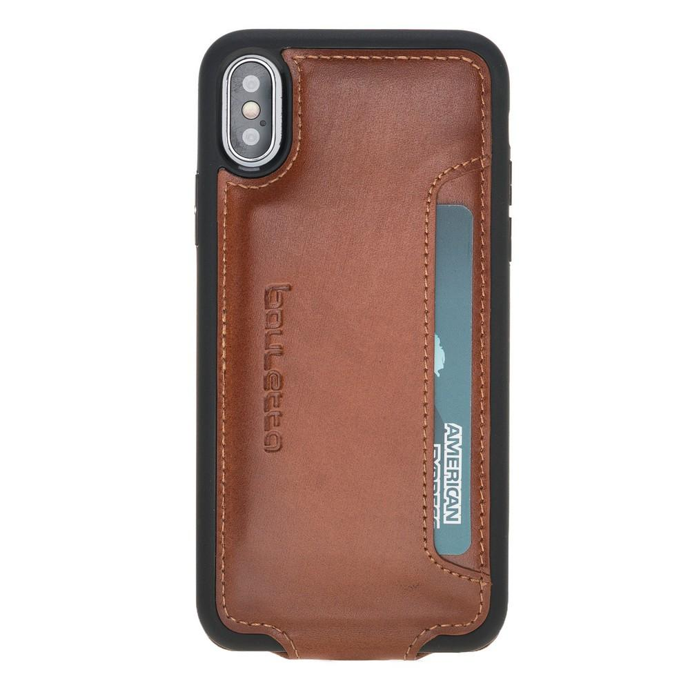 Phone Case Flip Cover Leather Case with Credit Card for Apple iPhone X/XS - Rustic Tan with Effect Bouletta Shop