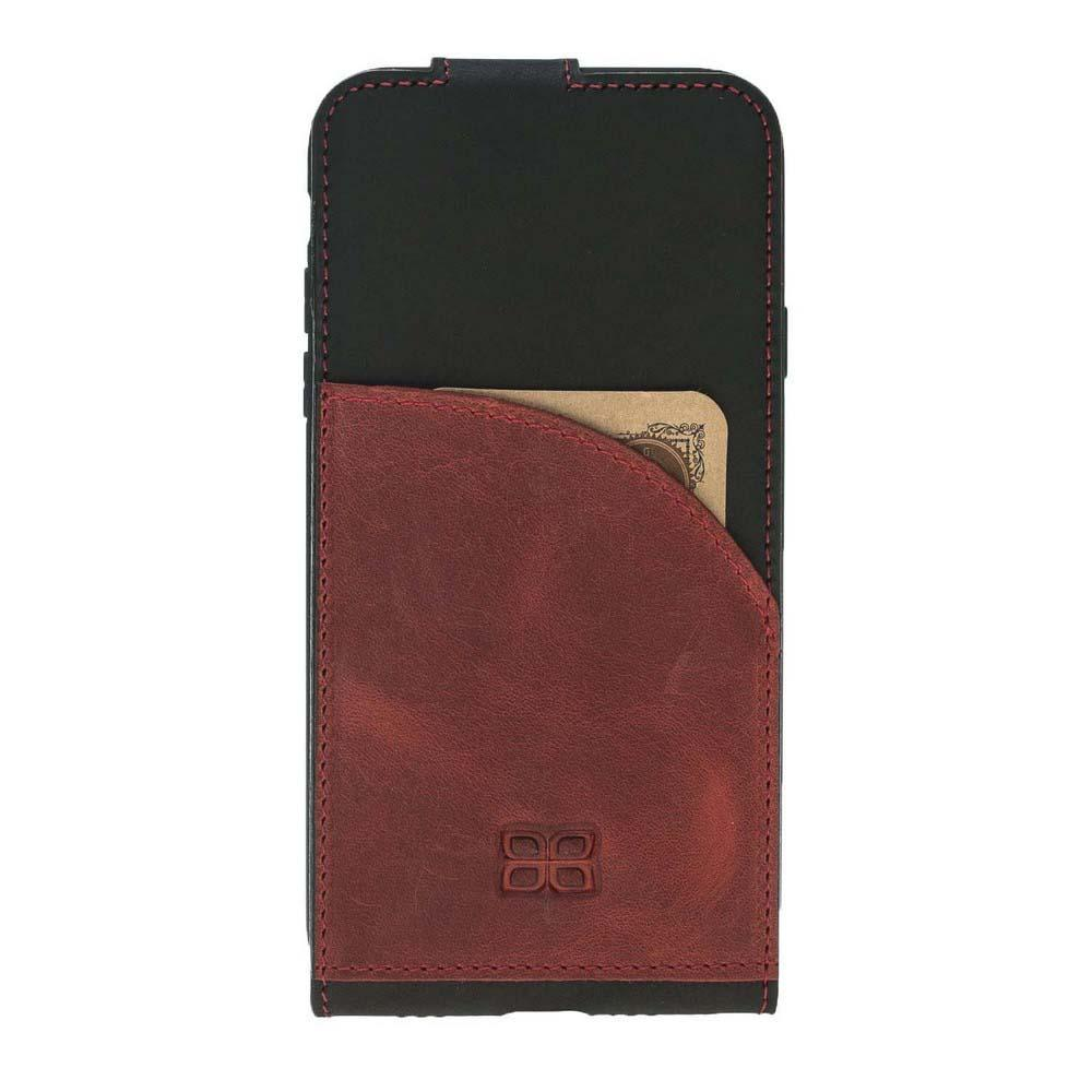 Phone Case Flip Stand Leather Case for Apple iPhone X/XS - Antic Black & Red Bouletta Shop