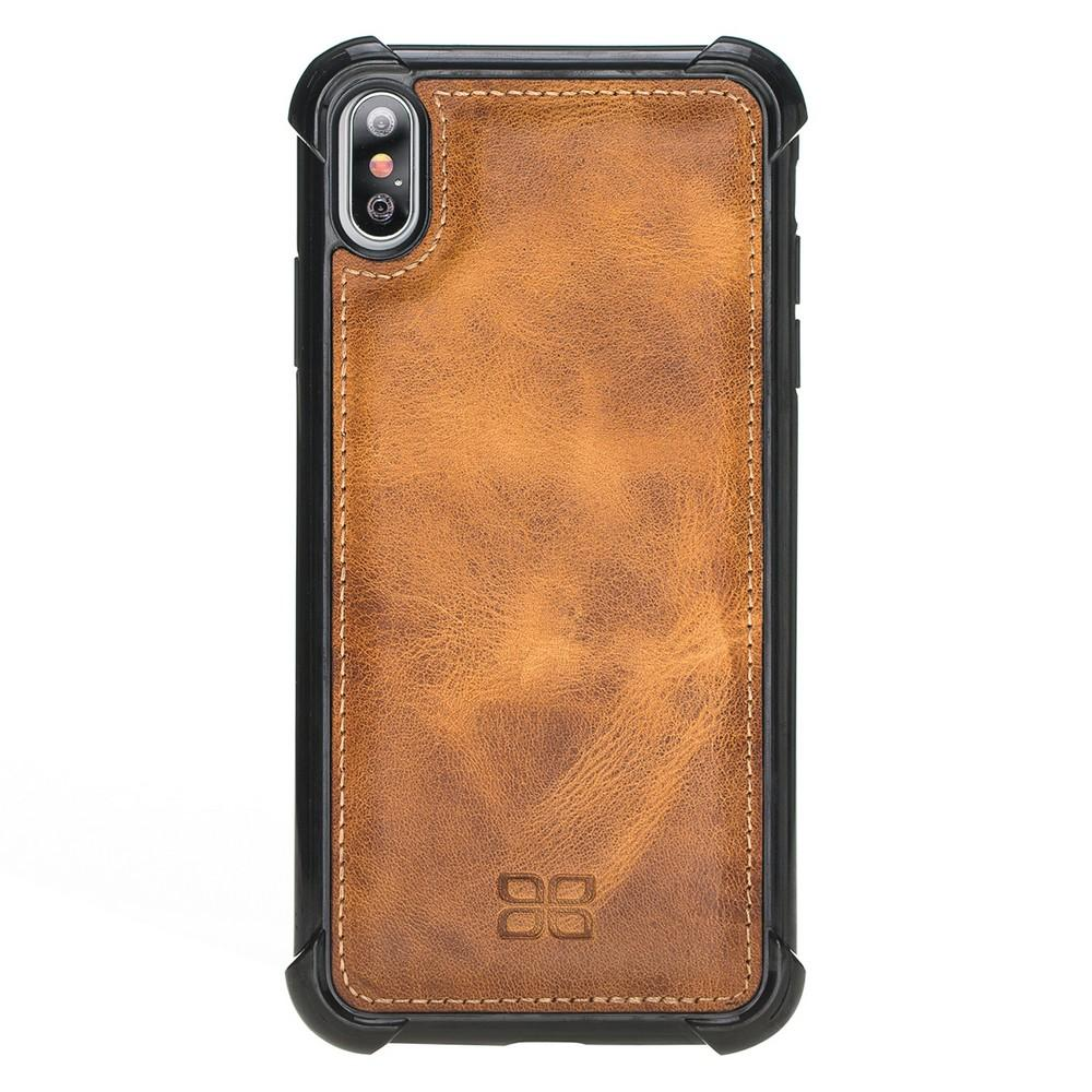 Phone Case Guard Flex Cover Back Leather Case for Apple iPhone XS Max - Vegetal Tan with Vein Bouletta Shop