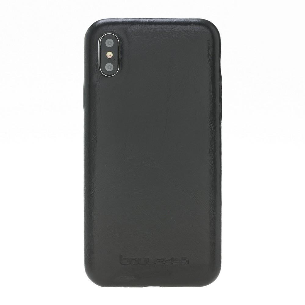 Phone Case Leather Ultra Cover Snap On Back Cover for Apple iPhone X/XS - Rustic Black Bouletta Shop