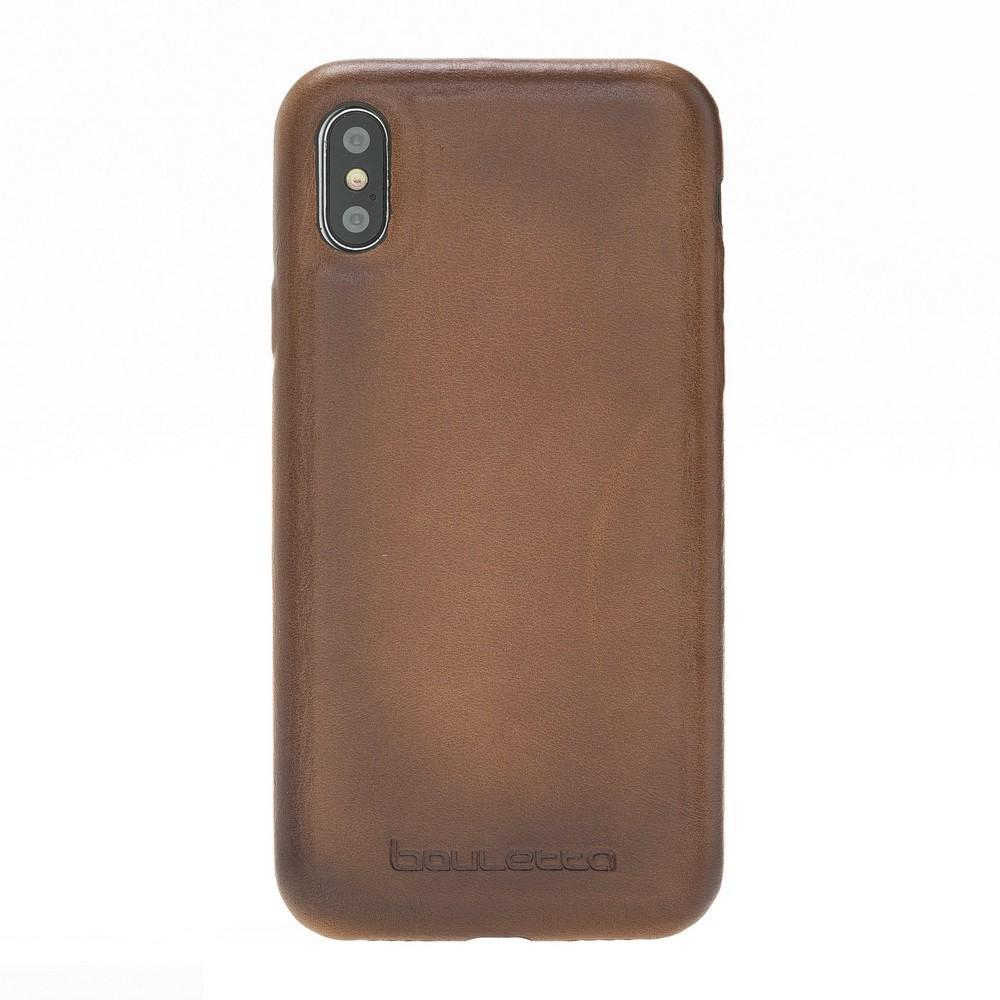 Phone Case Leather Ultra Cover Snap On Back Cover for Apple iPhone X/XS - Rustic Tan with Effect Bouletta Shop