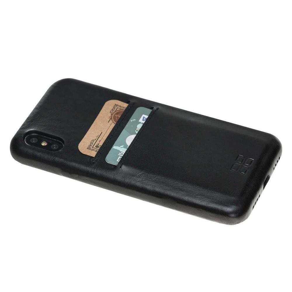 Phone Case Leather Ultra Cover with Card Holder for Apple iPhone X/XS - Rustic Black Bouletta Shop