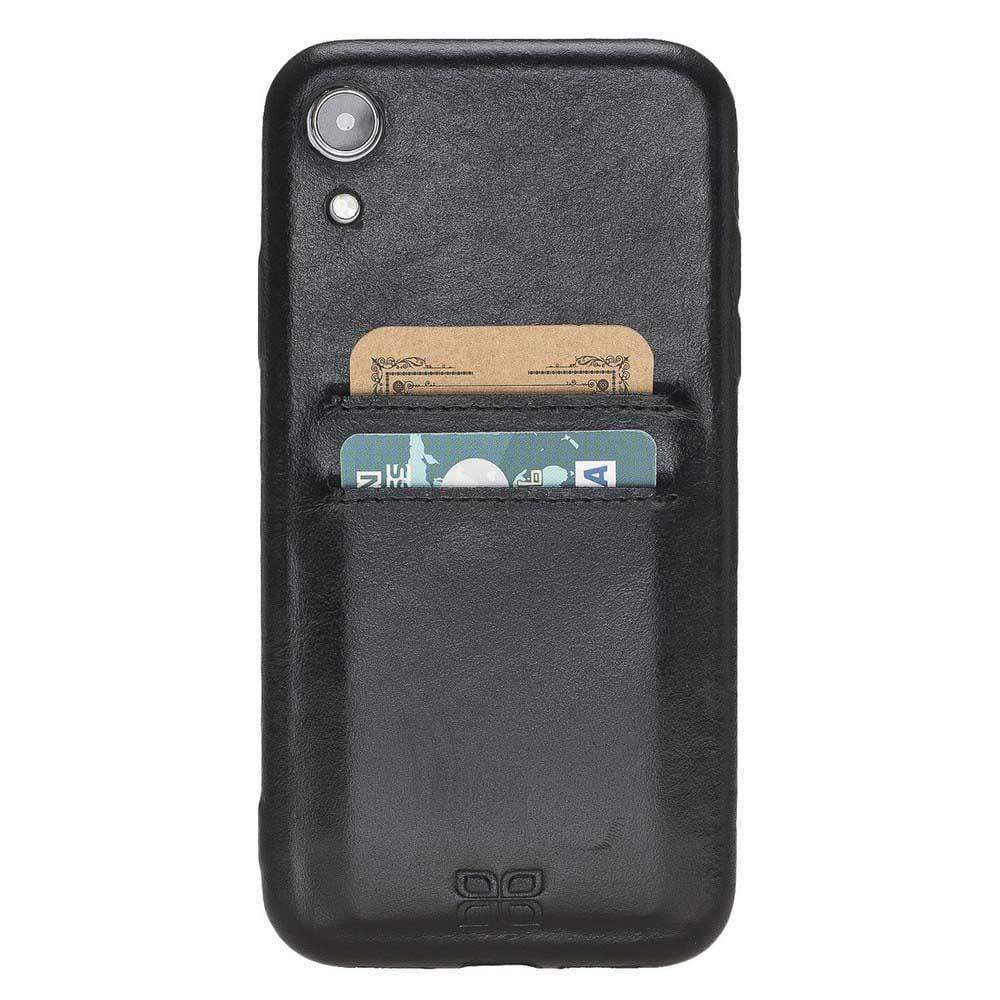 Phone Case Leather Ultra Cover with Card Holder for Apple iPhone XR - Rustic Black Bouletta Shop