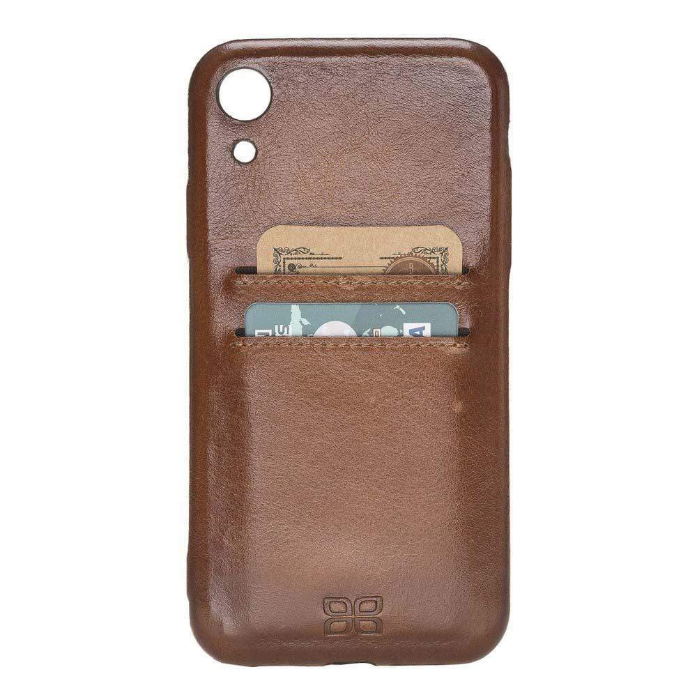 Phone Case Leather Ultra Cover with Card Holder for Apple iPhone XR - Rustic Burnished Tan Bouletta Shop