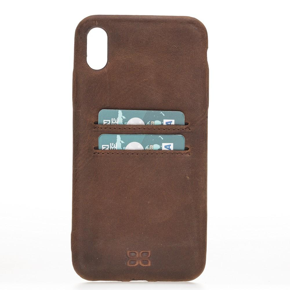 Phone Case Leather Ultra Cover with Card Holder for Apple iPhone XS Max - Antic Brown Bouletta Shop