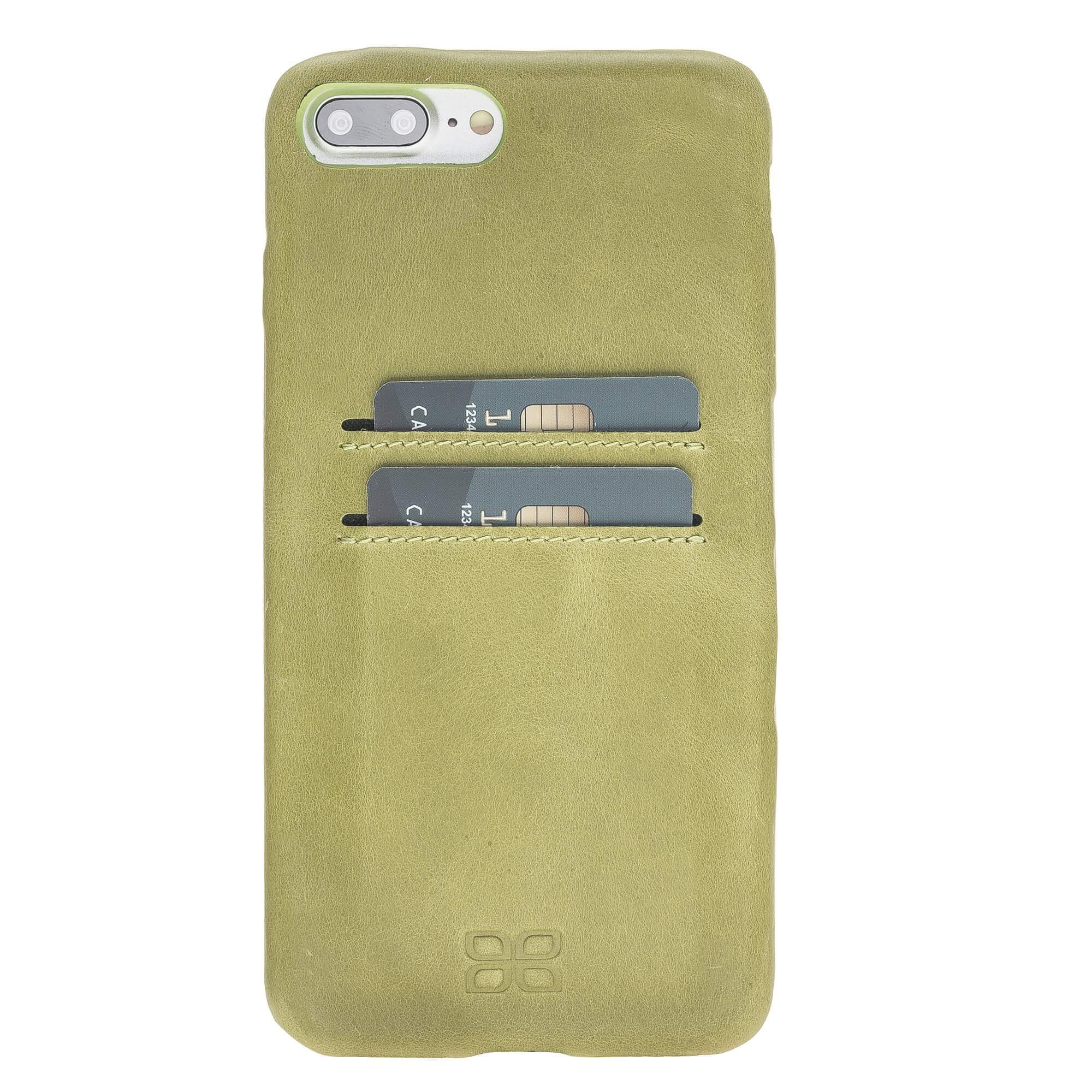 Phone Case Leather Ultra Cover with Credit Card Slots for Apple iPhone 7/8 Plus - Crazy Green Bouletta Shop