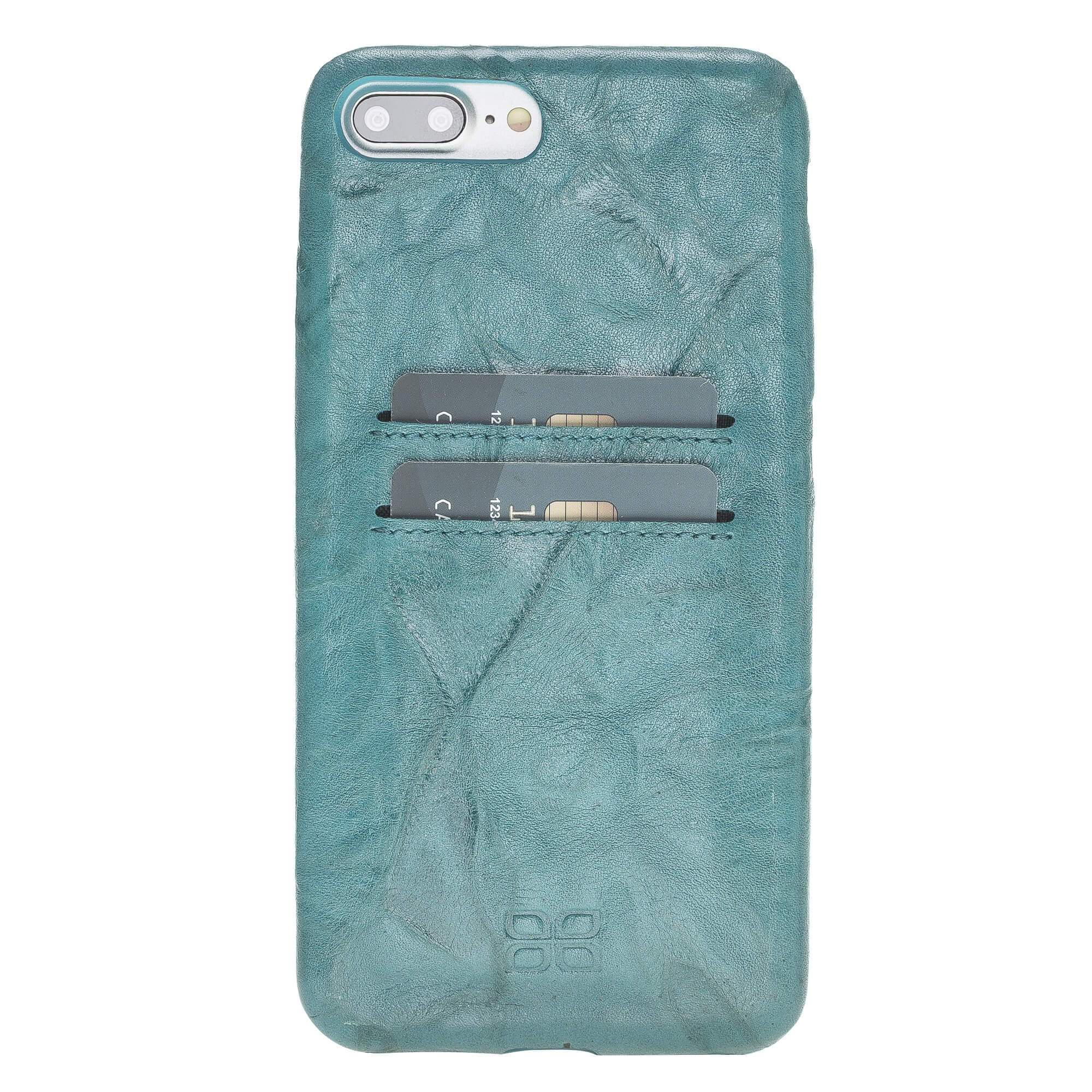 Phone Case Leather Ultra Cover with Credit Card Slots for Apple iPhone 7/8 Plus - Creased Turquoise Bouletta Shop