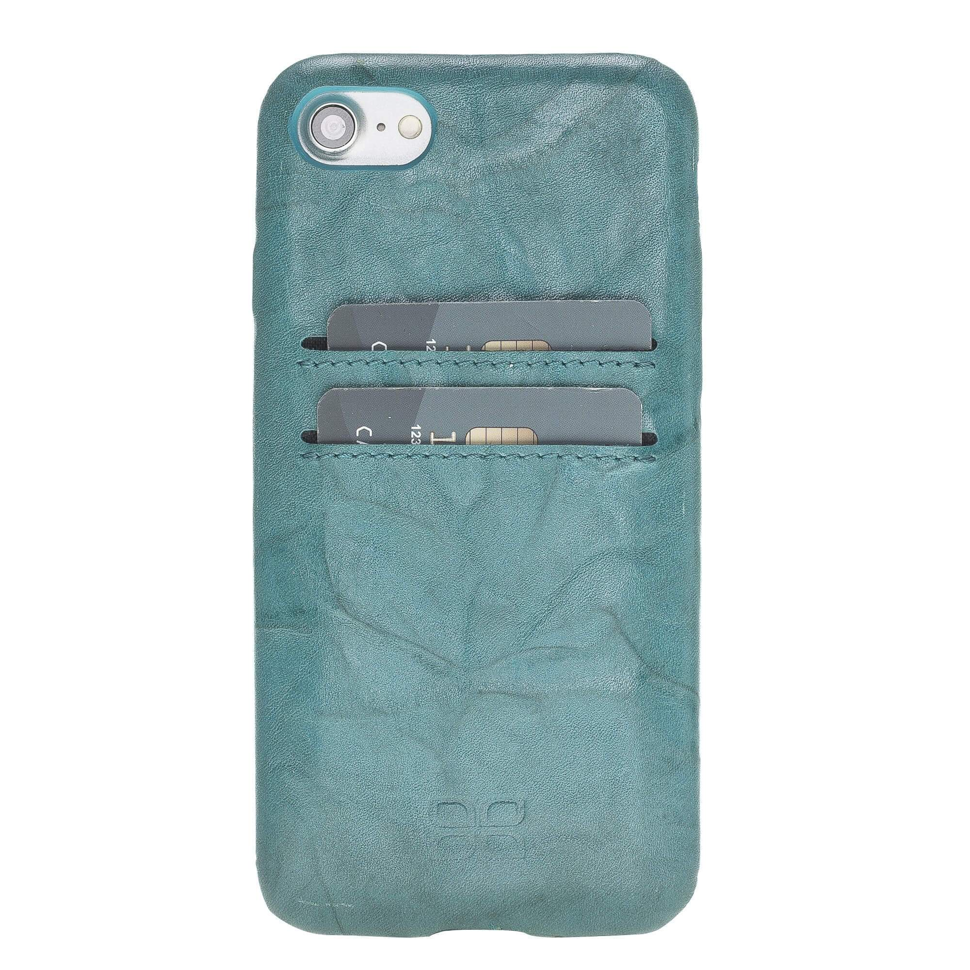 Phone Case Leather Ultra Cover with Credit Card Slots for Apple iphone SE2/7/8 - Creased Turquoise Bouletta Shop