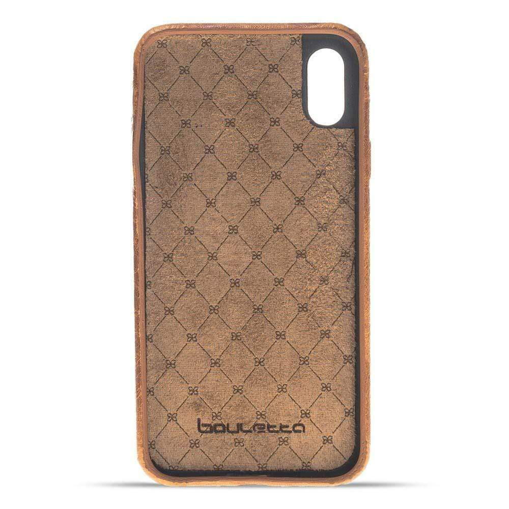 Phone Case Leather Ultra Cover with Credit Card Slots for Apple iPhone X/XS - Vegetal Tan with Vein Bouletta Shop