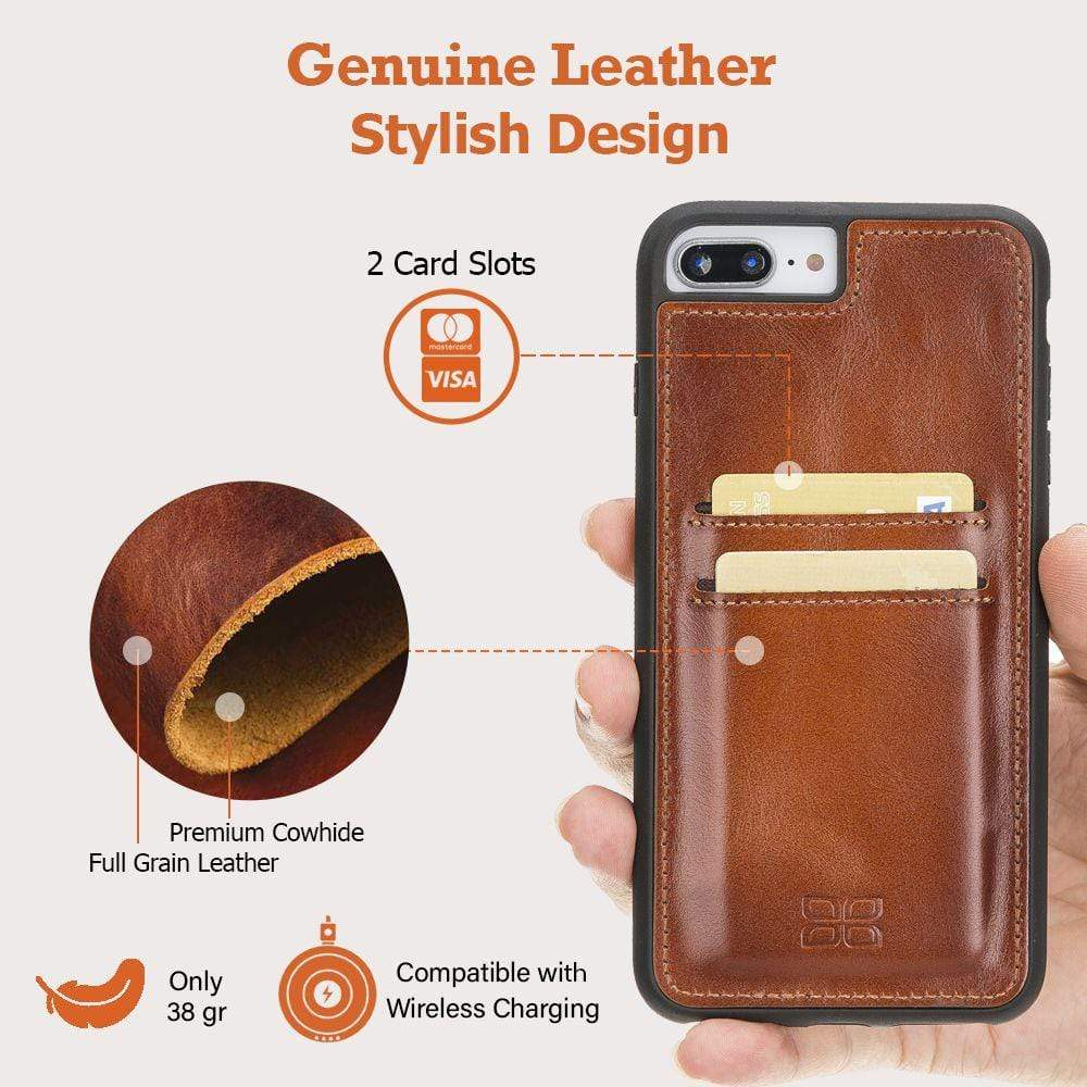 Phone Case Leather Ultra Cover with Credit Card Slots for iPhone 7/8 Plus - VAD Tan with Effect Bouletta Case