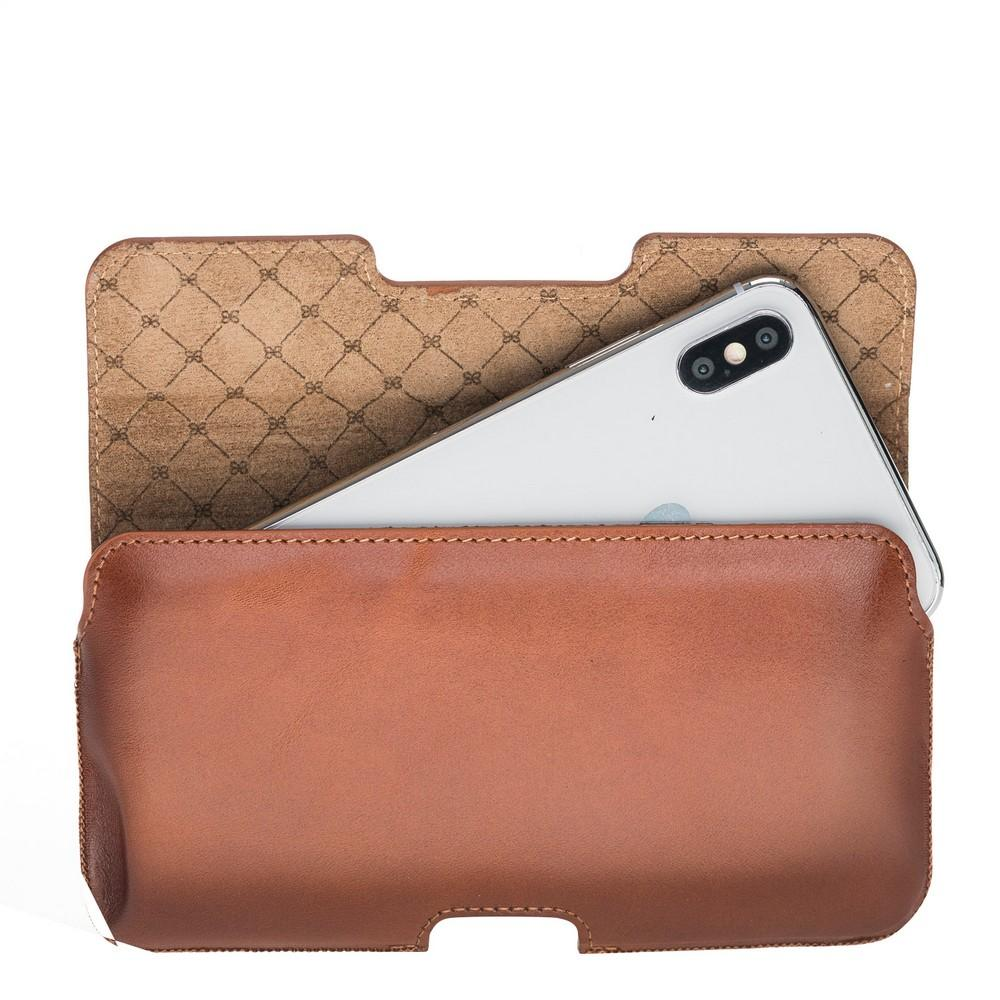 Phone Case Lycia Belt Clip Leather Case for iPhone XS MAX, 6-7-8 Plus and Samsung Galaxy S9 Plus, S10 Plus, Note 8, Note 9 - Rustic Tan with Effect Bouletta Case