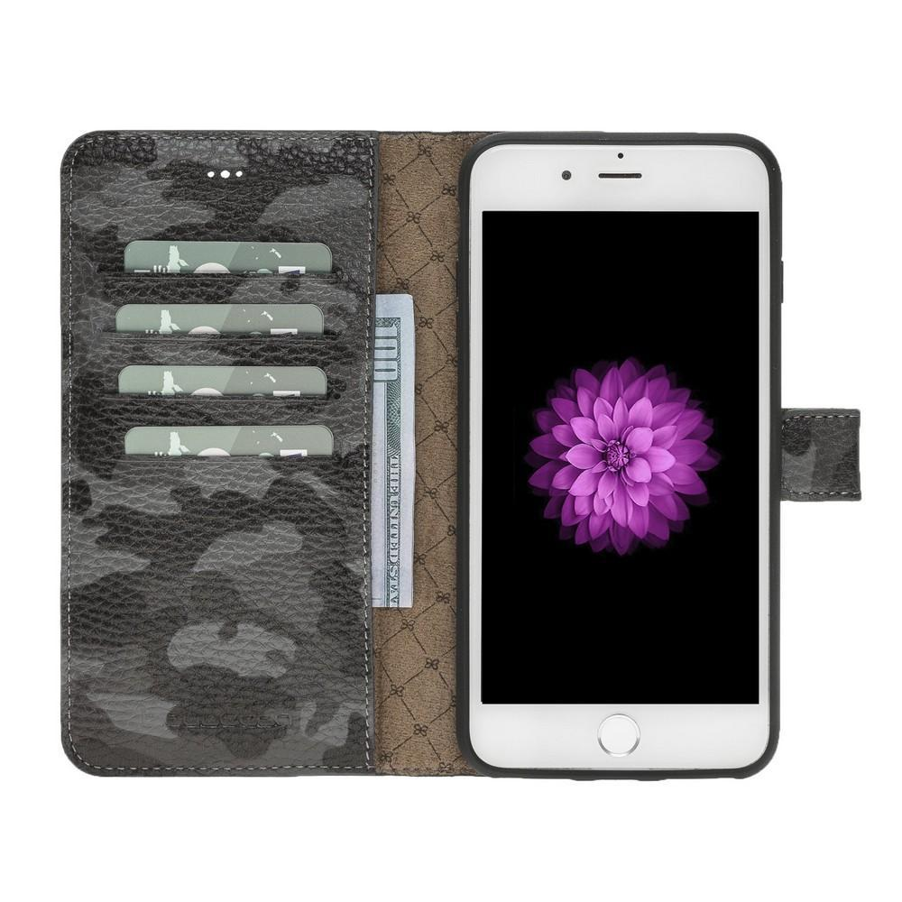 Phone Case Magnetic Detachable Leather Wallet Case for Apple iPhone 7/8 Plus - Camouflage Black Bouletta Case
