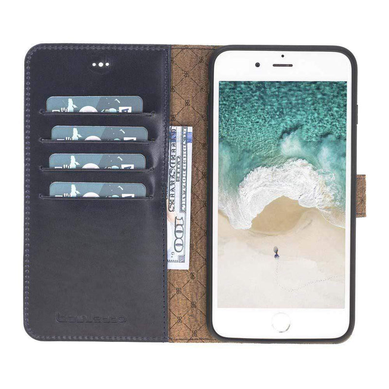 Phone Case Magnetic Detachable Leather Wallet Case for Apple iPhone 7/8 Plus - Vegetal Dark Blue Bouletta Case