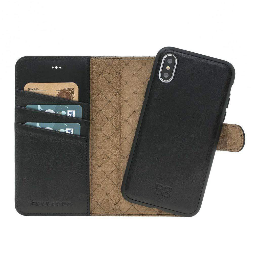 Phone Case Magnetic Detachable Leather Wallet Case for Apple iPhone X/XS - Rustic Black Bouletta Case