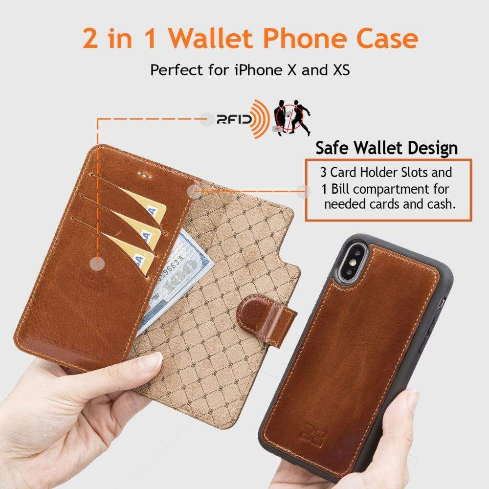 Phone Case Magnetic Detachable Leather Wallet Case for Apple iPhone X/XS - Rustic Black Bouletta Shop