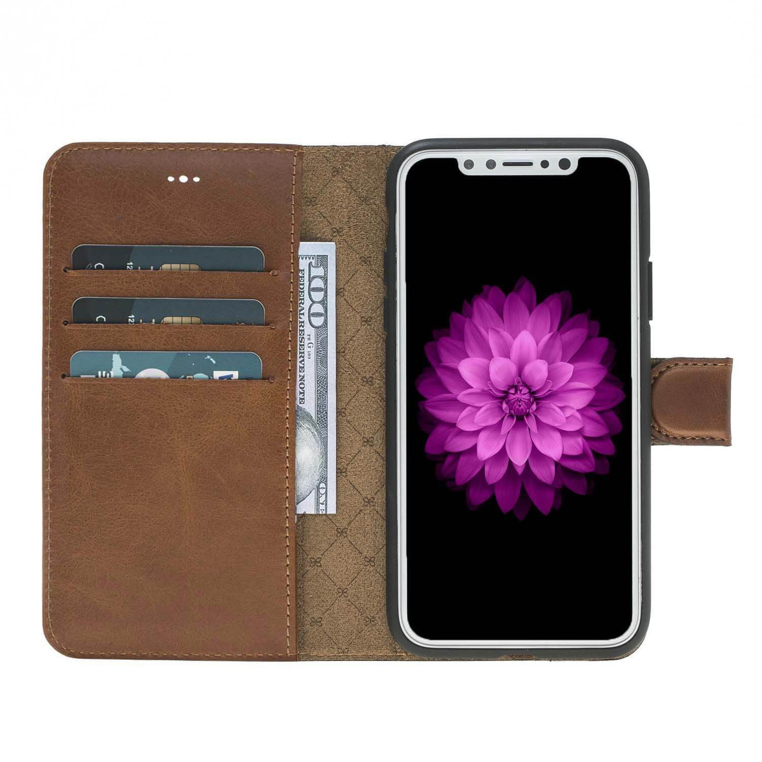 Phone Case Magnetic Detachable Leather Wallet Case for Apple iPhone X/XS - Rustic Burnished Tan Bouletta Case