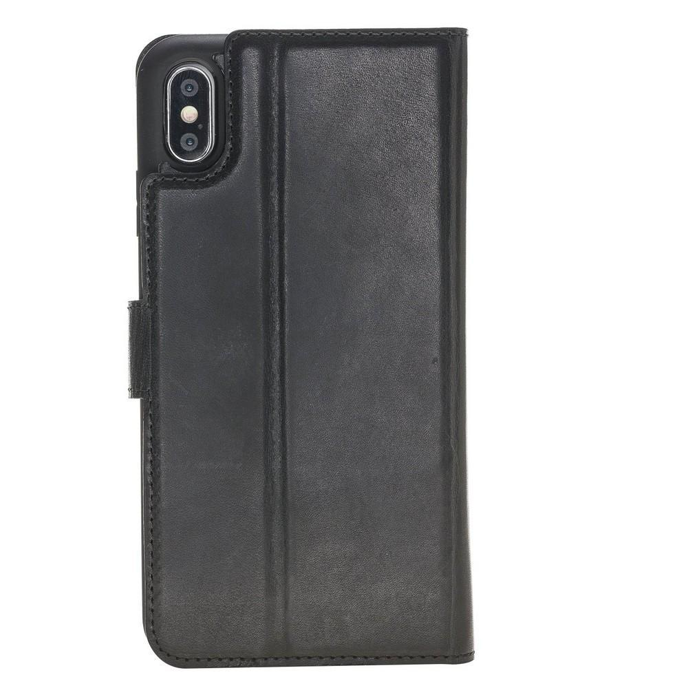 Phone Case Magnetic Detachable Leather Wallet Case for Apple iPhone X/XS - Vegetal Black Bouletta Case