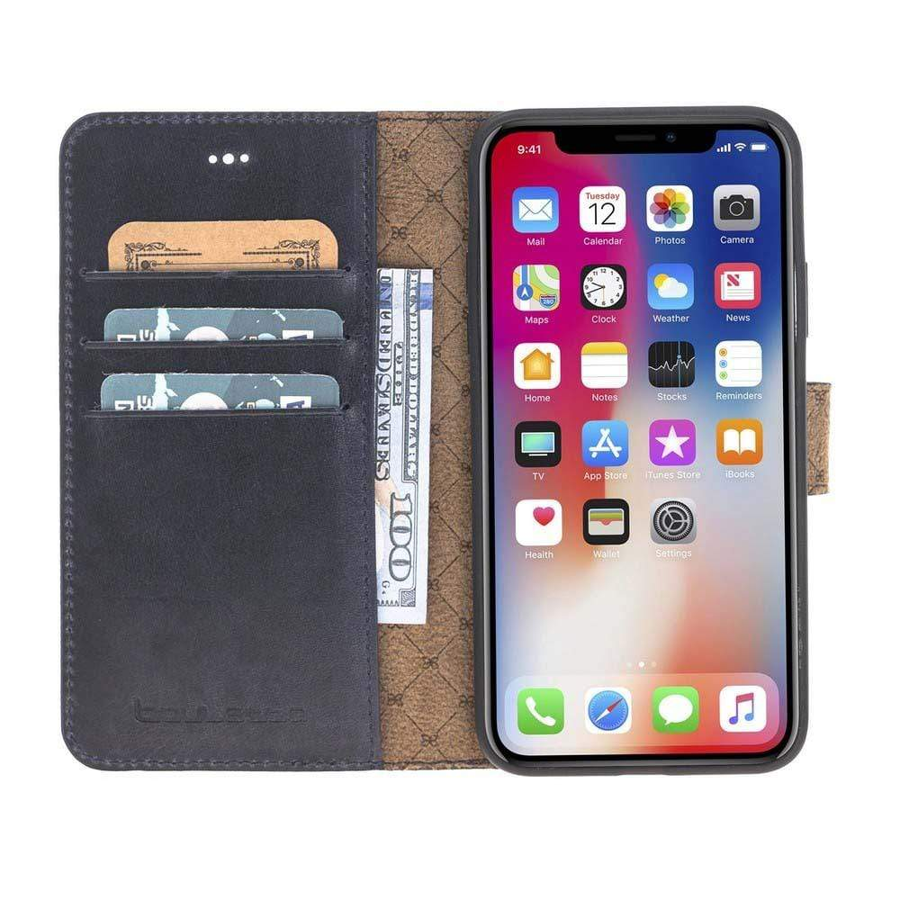Phone Case Magnetic Detachable Leather Wallet Case for Apple iPhone X/XS - Vegetal Dark Blue Bouletta Case