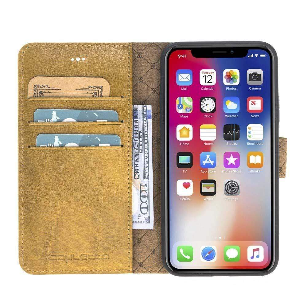 Phone Case Magnetic Detachable Leather Wallet Case for Apple iPhone X/XS - Vegetal Mustard Bouletta Case