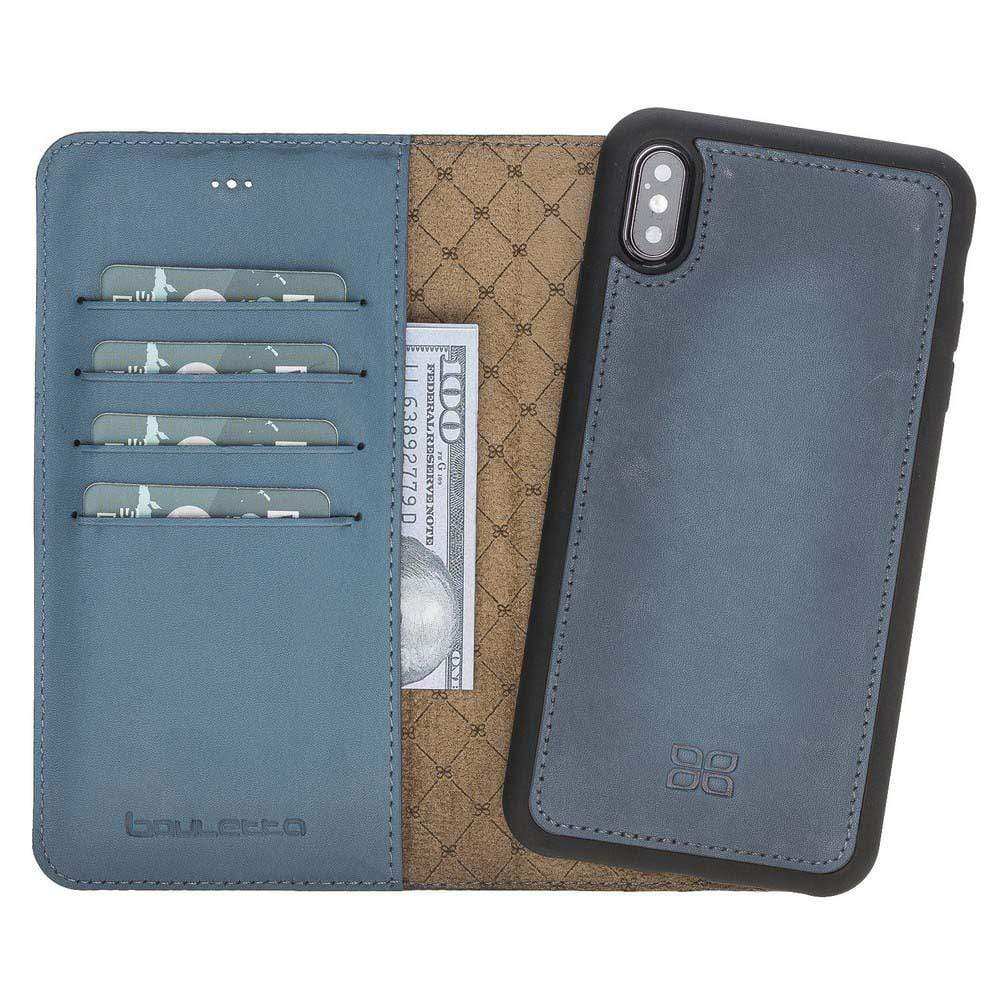 Phone Case Magnetic Detachable Leather Wallet Case for Apple iPhone XS Max - BRN Burnished Navy Blue Bouletta Case