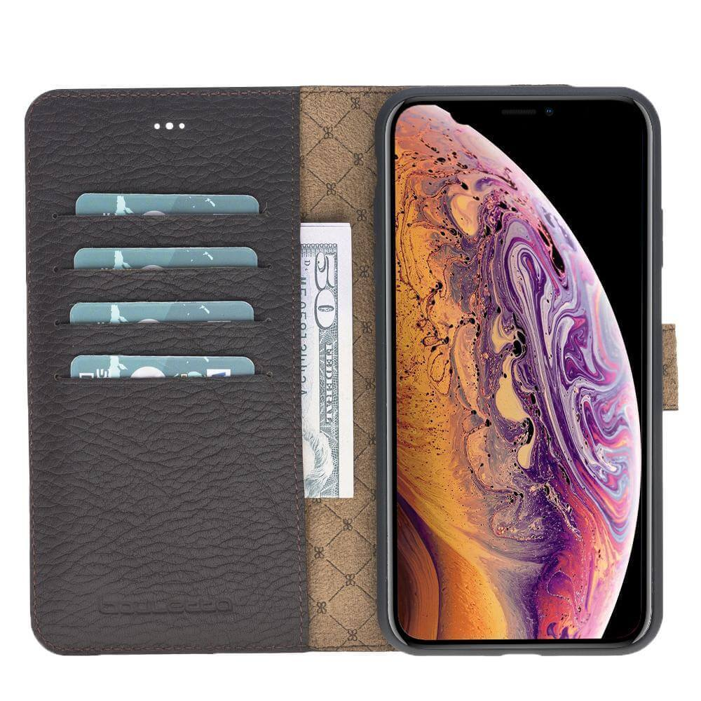 Phone Case Magnetic Detachable Leather Wallet Case for Apple iPhone XS Max - Floater Dark Brown Bouletta Case