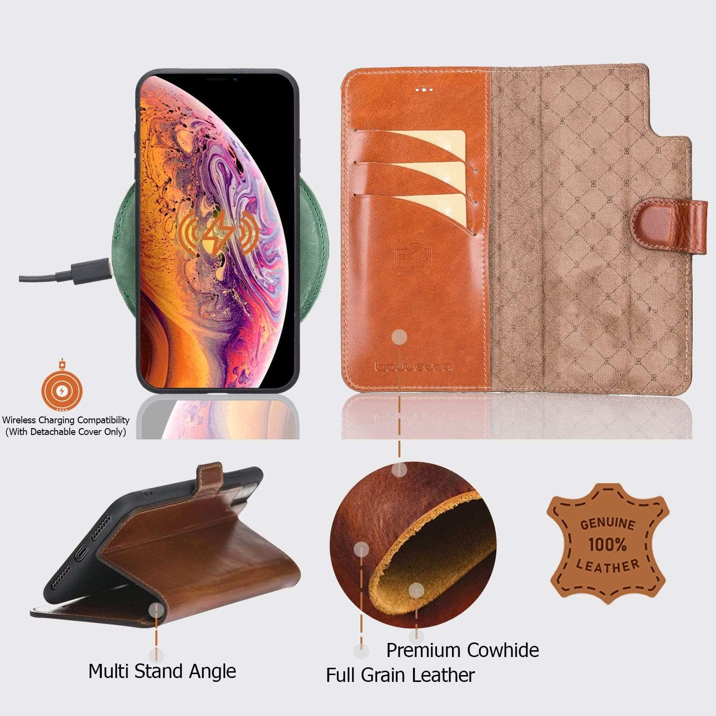Phone Case Magnetic Detachable Leather Wallet Case for Apple iPhone XS Max - Tiguan Tan Bouletta Shop