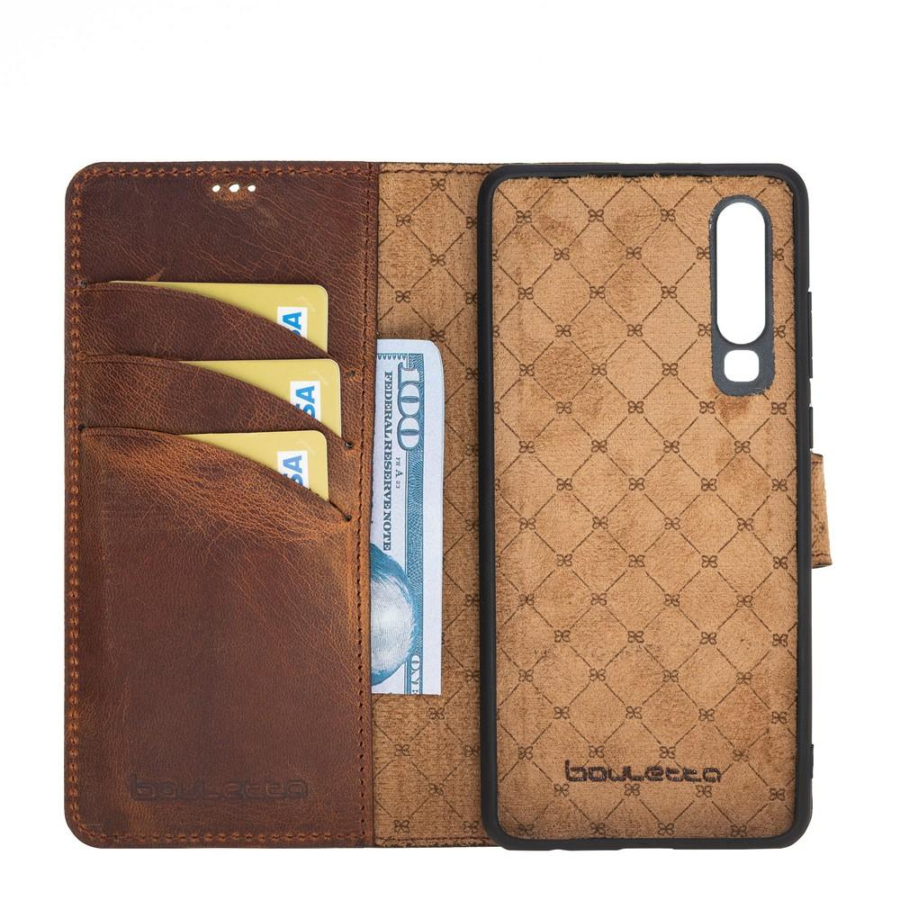 Phone Case Magnetic Detachable Leather Wallet Case for Huawei P30  - Antic Brown Bouletta Case